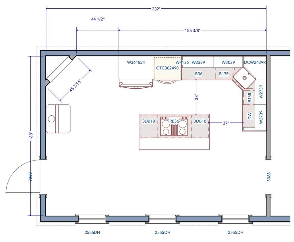 Fells Point Baltimore Kitchen Remodel Floor Plan Before