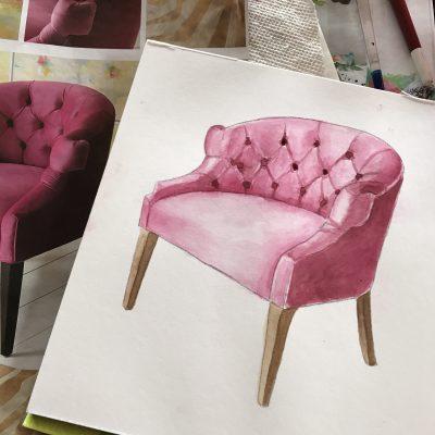 Watercolor rendering chair