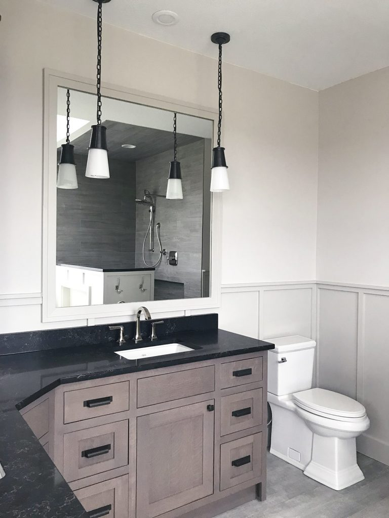 corner bathroom vanity with wall cabinet asymmetrical vanity caesarstone vanilla noir