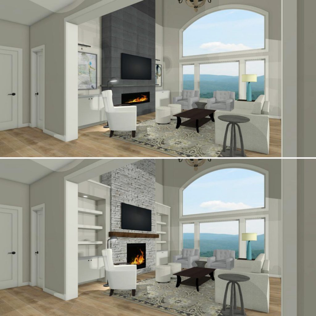 fireplace wall ideas, two options for fireplace wall built ins