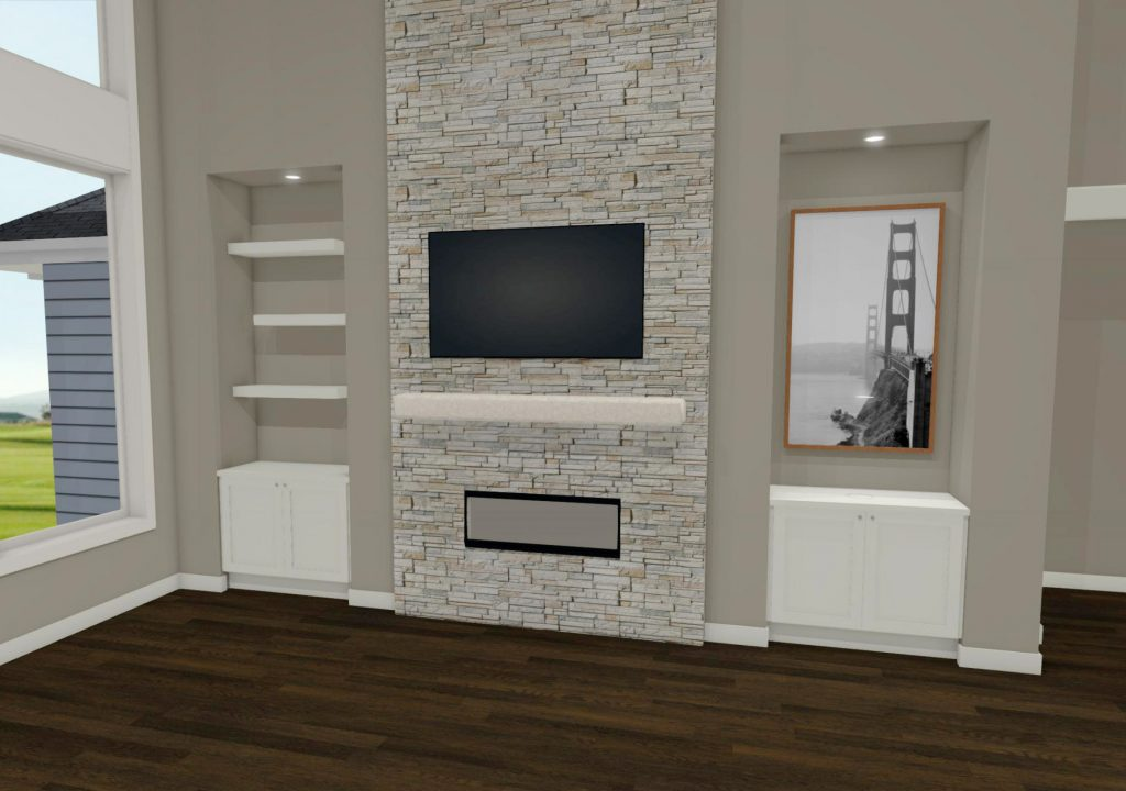 fireplace wall ideas, chief architect rendering transitional stone fireplace with tv above