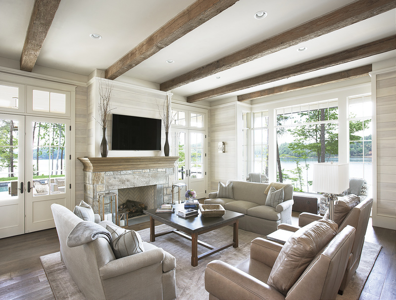 M. Architecture Group, neutral living room stone fireplace place shiplap beams