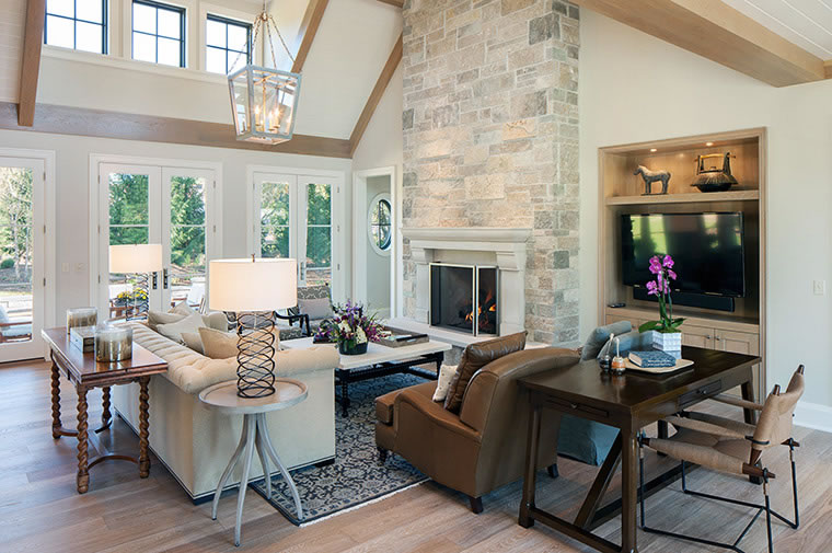 Scott Christopher Homes Stone Fireplace with built ins on one side