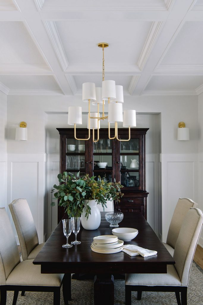 dining room coffered ceiling modern gold chandelier