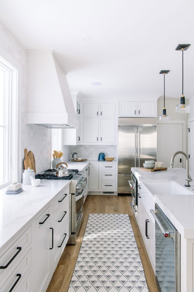 white kitchen white oak floors