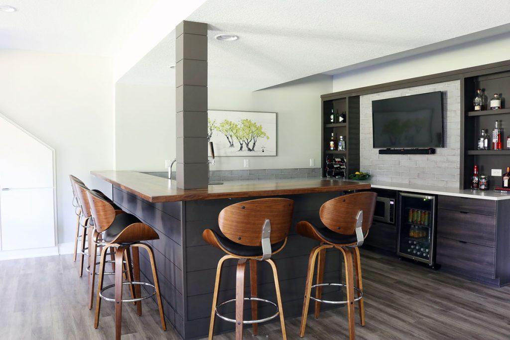 home bar shiplap LVT floor dark cabinetry Benjamin Moore Gray Owl