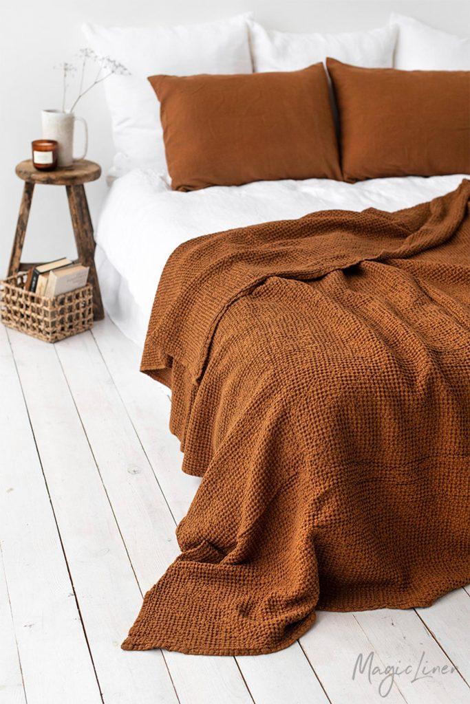 waffle linen blanket on etsy