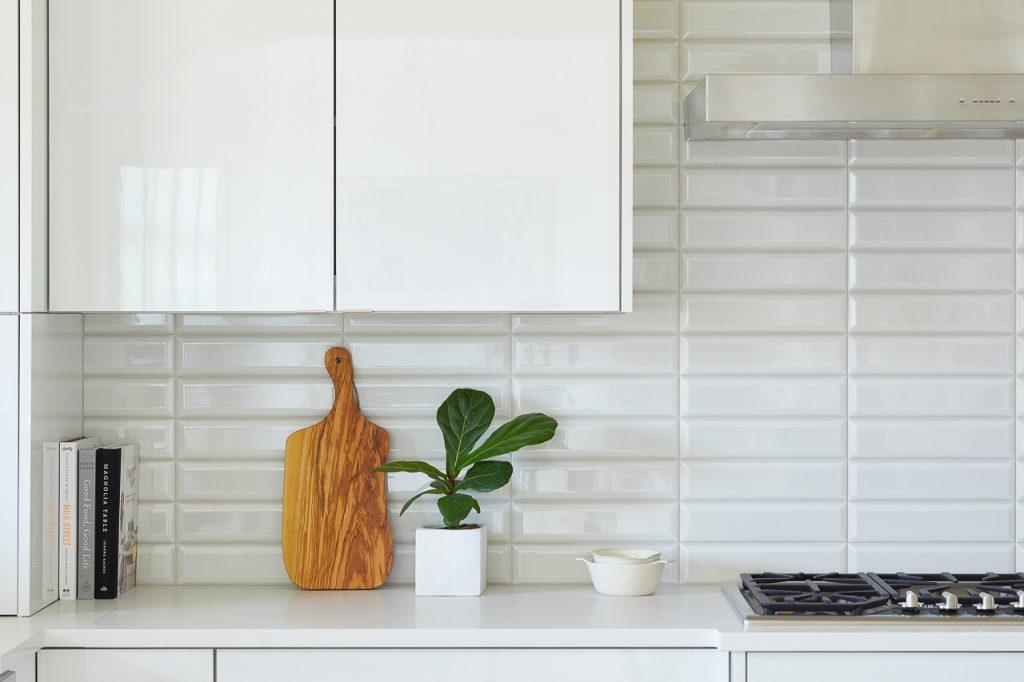 White and Gray Modern Kitchen, Beveled gray subway tile backsplash, Jeffrey Court subway tile