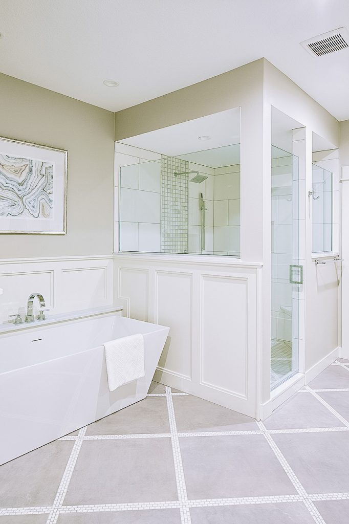 Patterned tile floor, master bathroom walk-in shower, Sherwin Williams Agreeable Gray
