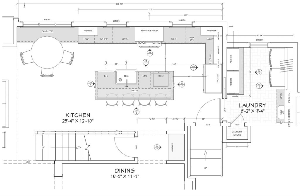 L-Shaped Kitchen Plan with Island and Banquette