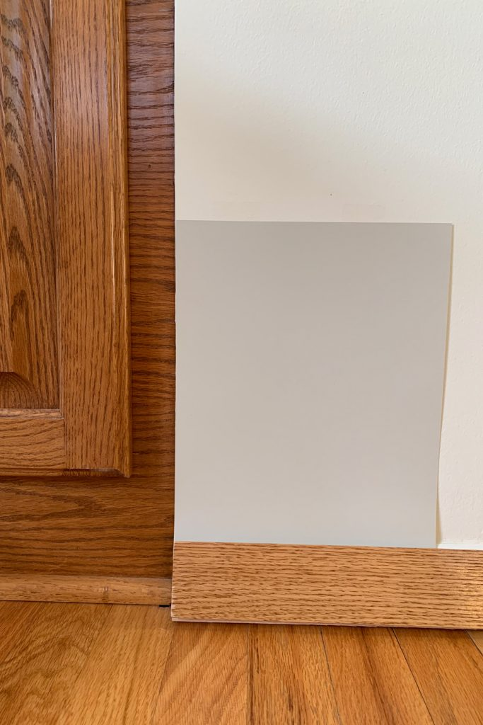 Sherwin-Williams Useful Gray SW 7050 with Honey Oak