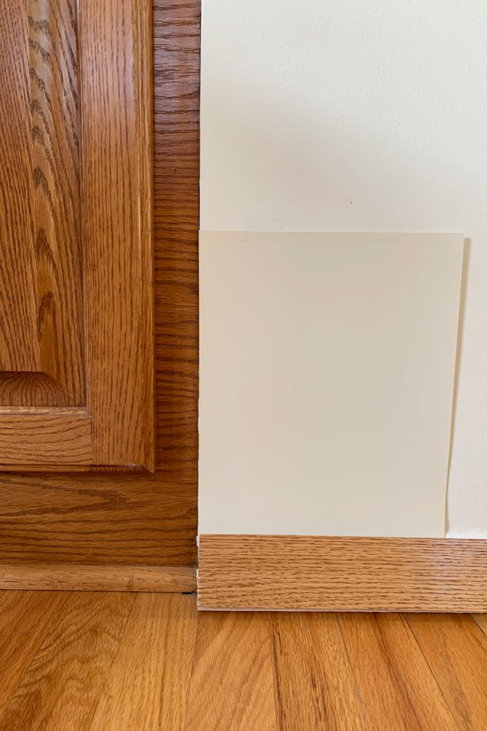 Sherwin-Williams Polar Bear SW 7564 with Honey Oak