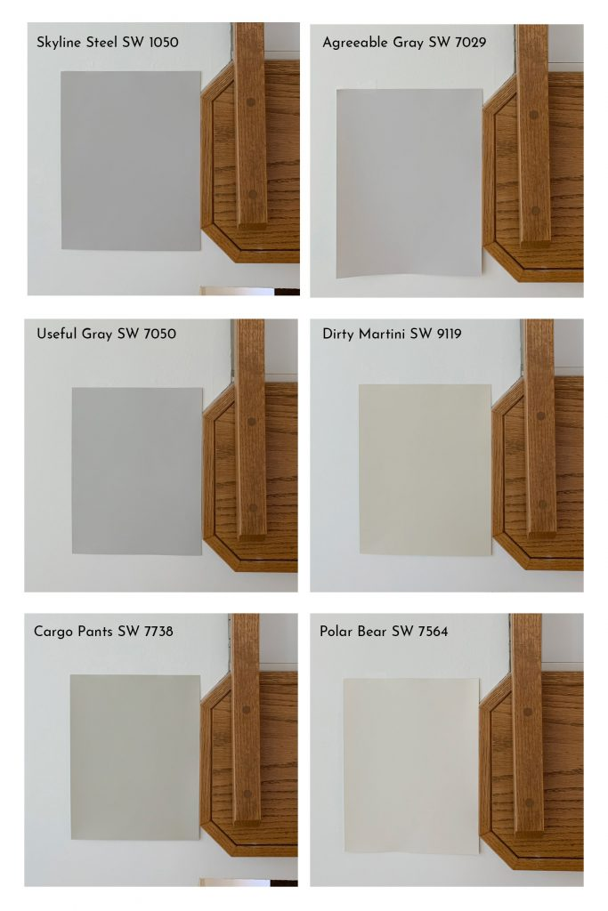 Comparison of Sherwin-Williams Light Neutral Paint Colors with Oak