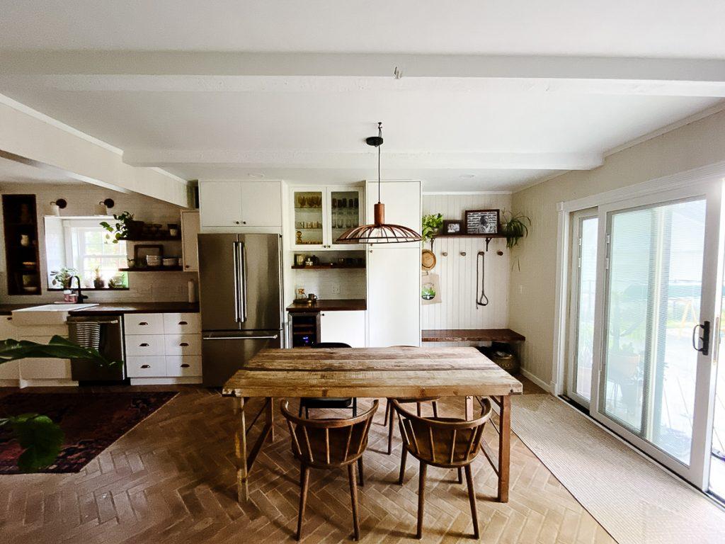 IKEA Kitchen Semihandmade Herringbone Brick Floor